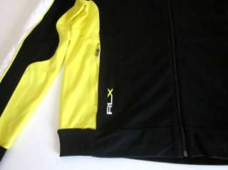 RLX Ralph Lauren Black Yellow Full Zip Fleece Logo Jacket L