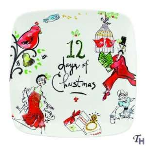 Lenox Christmas 12 Days Of Christmas Square Tray:  Kitchen
