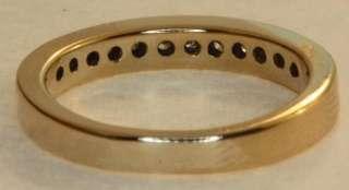 gold ladies .18c diamond wedding band ring womens vintage estate 3.2g