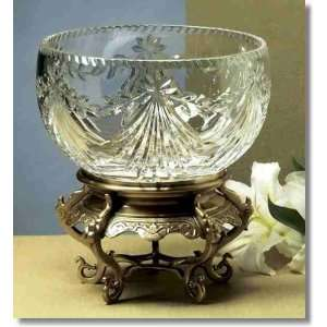 NT277   Antique Brass Asian Stand With Crystal Bowl