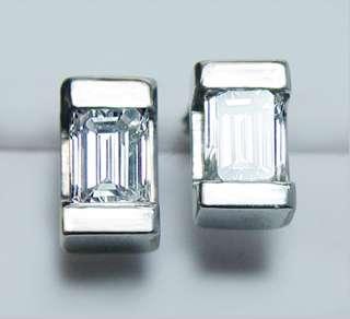 Emerald Cut 1.15ct Diamond Stud Earrings 14K White Gold Estate Jewelry