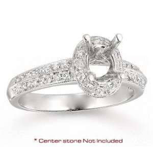 14k White Gold Side Stone Pave Diamond Engagement Ring Jewelry