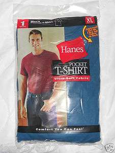 lot of 5 Hanes Mens Pocket T shirt Ultra Soft Fabric NIP Color Lunar