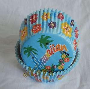 50 Hawaiian Beach blue cupcake liner baking paper cup muffin cases