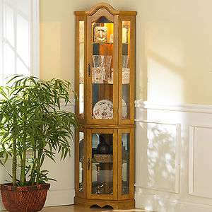 OAK Mirror Back Lighted Corner CURIO DISPLAY CABINET Wood Glass NEW