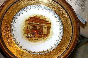 Decorative Wall Hanging Plate With Wood Frame and Gold Trim