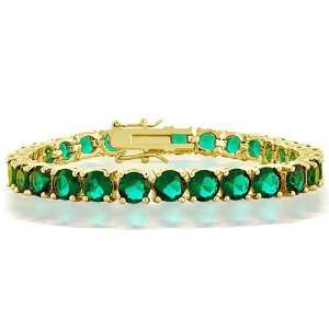 Gold Plated CZ Green Emerald Color Tennis Bracelet 7.5 in. Jewelry