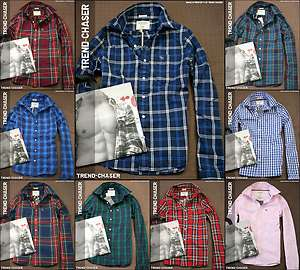 Abercrombie & Fitch Mens Muscle Fit Long Sleeve Button Plaid Shirt NWT