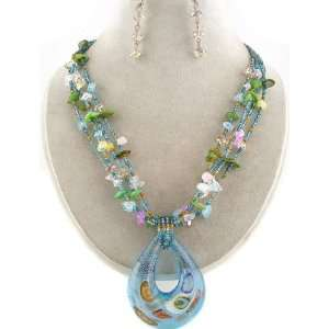 Faceted Crystal Beads Necklace and Earrings Set