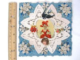 Antique Victorian Valentine Show Girl Blue Card Layered Paper Lace