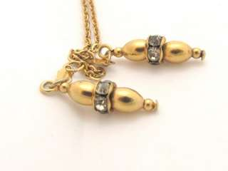 COVENTRY GOLD PLATED LONG ROPE CHAIN RHINESTONE NECKLACE*36