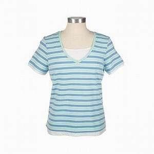 Denim & Co. Striped Stretch Knit V Neck Top Inset Green Blue White
