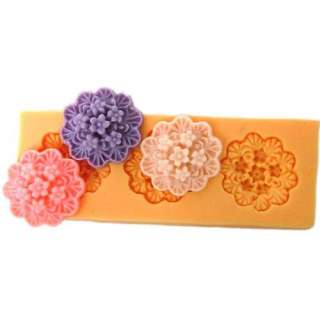 9006 Soft Silicone Handmade Soap Candle Mold Mould   3 cavity Floral