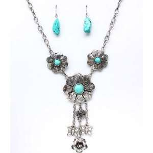 Flower Charms Stabilized Turquoise Earrings & Necklace Set
