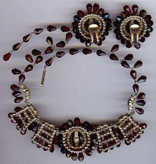 VINTAGE BEAUTY HAND WIRED RED GLASS RHINESTONE NECKLACE & EARRINGS SET