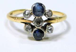 Georgian vintage antique 18 ct solid gold ring Diamond blue sapphire