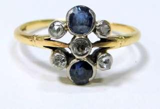 Georgian vintage antique 18 ct solid gold ring Diamond blue sapphire