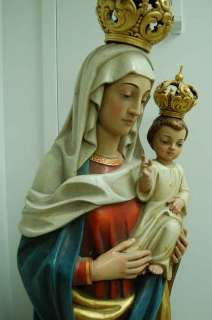 Fine Hand Carved wood Statue Madonna & Child +