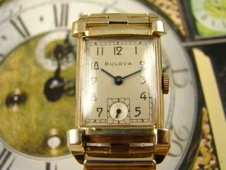 DAZZLING BULOVA ART DECO MENS DRESS WATCH GOLD FL VINTAGE 1940s 21