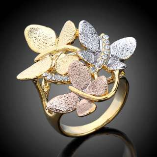 Gold Plated 3 tone Ring,Swarovski Crystal 3 Butterfly Size 6 8