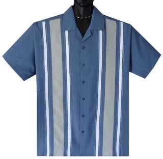 Blue Multi Panel Retro Mobster Bowling Shirt XL