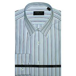 Domani Blue Label Mens Navy and Blue Dress Shirt  Overstock