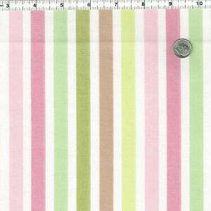 COTTON UPHOLSTERY FABRIC RETRO STRIPE PINK BLUE GREEN