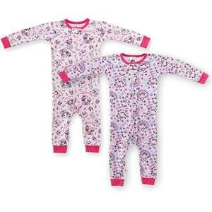 Gerber   Newborn Girls Long Sleeve Union Suits, 2 Pack
