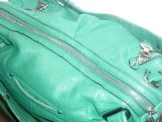 MAKOWSKY L Kelly Green Leather Satchel Shoulder Bag Handbag Cross