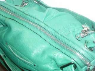 MAKOWSKY L Kelly Green Leather Satchel Shoulder Bag Handbag Cross