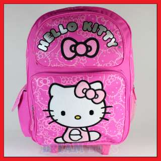 Kitty Pink Glitter Roller Backpack   Rolling Girls Bag LARGE