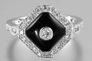 Gold ONYX & DIAMOND RING Fabulous Art Deco style Diamond & Onyx ring