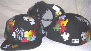 NEW ERA YORK YANKEES PUZZLE BLACK HAT CAP 8 FITTED nwt