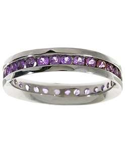 14k White Gold Pink Sapphire Eternity Channel Band