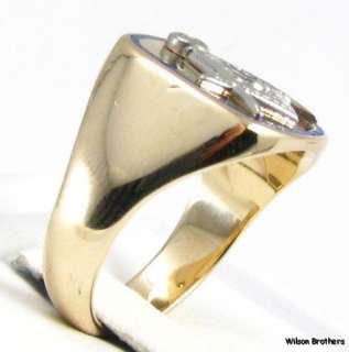 Back MASONIC Master Mason RING   14k White & Yellow Gold A+ Blue Lodge