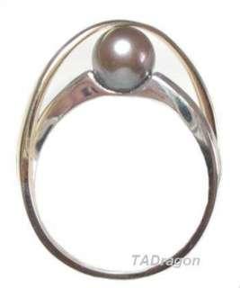 5mm AAA Akoya Black Pearl 14K Yellow Gold & 925 Silver Ring Sz 7