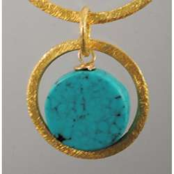 Gold Vermeil Natural Turquoise Earrings (USA)