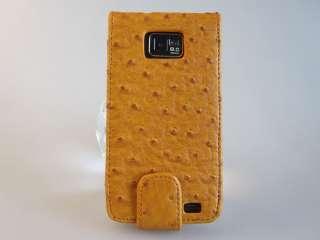 SAMSUNG Galaxy S2 i9100 Emu Ostrich Leather Flip Case with Credit Card