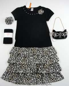 GYMBOREE LEOPARD CHIC Lot Black Ruffled Tiered Dress Tights Purse NWT