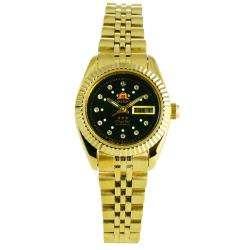 Goldtone Stainless Steel Crystal Black Dial Watch