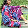 Womens Batik Exotic Blue Robe (Indonesia