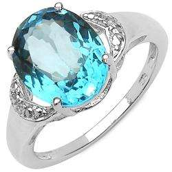 Sterling Silver Oval cut Blue and White Topaz Ring