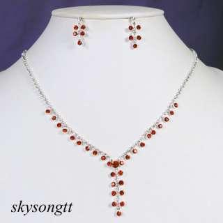 Ruby Red Rhinestone Crystal Bridal Pendant Necklace Earrings Set P037R