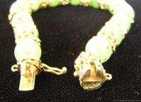 Vintage Chinese 14k Yellow Gold & Jade Bead Bracelet