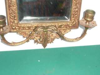 Solid Brass Mirror B&H Beveled Glass with candle holder
