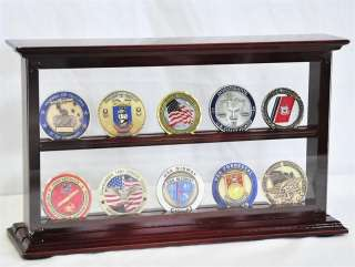 10 Double Sided Challenge Coin Display Case Holder Rack