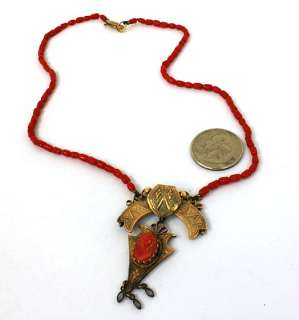 ANTIQUE 14K GOLD RED CORAL ORNATE CENTER PIECE NECKLACE