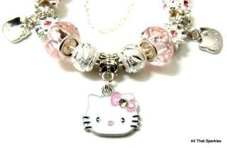 Pink Hello Kitty Child Girl Charm Bead Bracelet