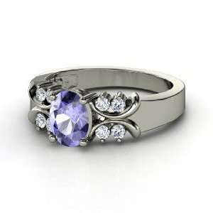 Gabrielle Ring, Oval Tanzanite Sterling Silver Ring with