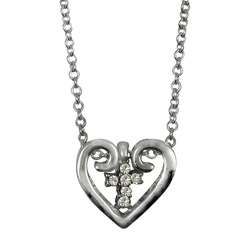 Silvertone Heart and Suspended Crystal Cross Pendant
